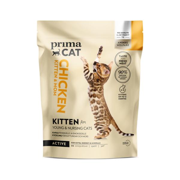 PrimaCat sausas maistas kačiukams ir maitinančioms katėms su vištiena