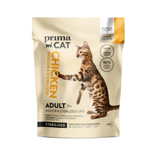 PrimaCat sausas maistas suaugusioms sterilizuotoms katėms gyvenančioms namuose su vištiena