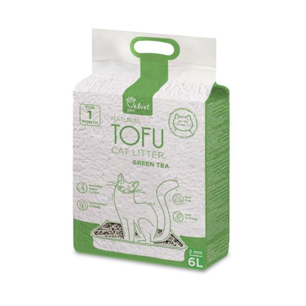 Velvet Paw Tofu kačių kraikas su žaliosios arbatos ekstraktu, 2 mm granulės, 4.3 kg/6 L