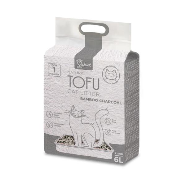 Velvet Paw Tofu kačių kraikas su bambuko anglimi, 2 mm granulės, 4.3 kg/6 L