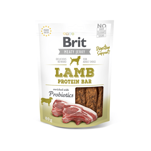 Brit Jerky Lamb Protein Bar skanėstai šunims 80 g