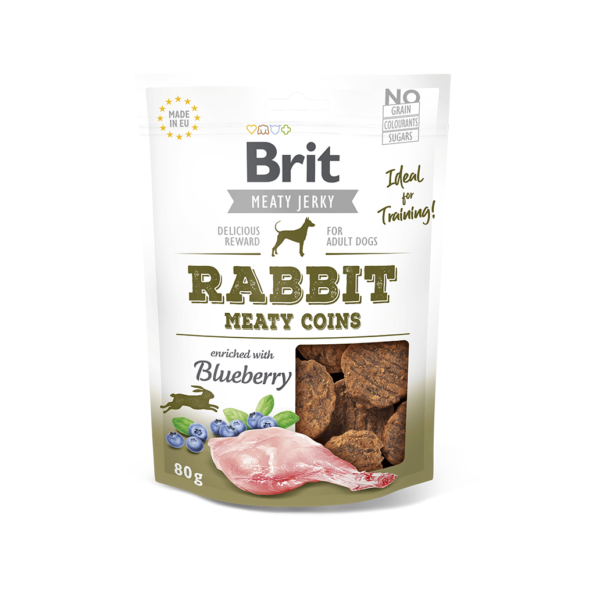 Brit Jerky Rabbit Meaty Coins skanėstai šunims 80 g