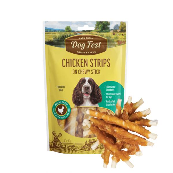 Dog Fest Chicken Strips On Chewy Stick skanėstai šunims 90 g