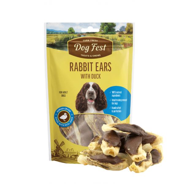 Dog Fest Rabbit Ears With Duck skanėstai šunims 90 g
