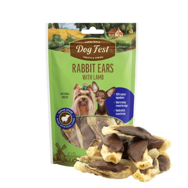 Dog Fest Rabbit Ears With Lamb skanėstai šunims 55 g